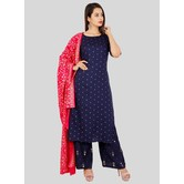 Craftsvilla Blue Rayon Polka Printed Readymade Salwar Suit Set