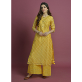 Suvarna-  Radiant Yellow Chanderi Straight Kurta With Tassels Paired With Gota Palazzo