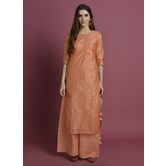 Aarhu-  Pretty Peach Straight Fit Kurta With Gota Palazzo