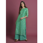 Palaash-  Shimmery Sea Green Chanderi Straight Kurta With Tassels Paired With Gota Palazzo