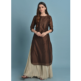 Aavil-  Chocolate Brown Casual Kurta With Badla Work