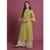 Ardra-  Pista Green Casual Kurta With Badla Work
