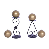 Diwali Designer Diwali Christmas Decoration 4 Gold Ball Candle With One Pair Stands Combo Pack 20070