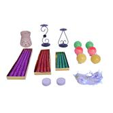 Diwali Designer Diwali Christmas Decoration 6 Ball Candle, One Pair Stands, 12 Glitter Candles, Rice Lights, Diffuser, Etc Combo Pack 20080