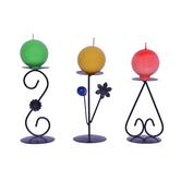 3 Color Diwali Christmas Ball Candle Set With 3 Stands - Model 1099