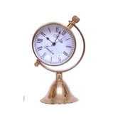 Desk Clock Adjustable Facia Style Study Office Table Antique Look Elegant Brass And Glass Precision Quartz Clock Diwali Gift