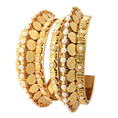 9blings Temple Jewellery Laxmi Design 2pc Pearl Gold Plated Bangle Set