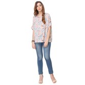 Areum Party Wear Printed Crepe Peach Round Neck Top