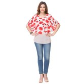 Areum Western Wear Printed Crepe Peach & Red Round Neck Top