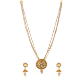 Reeti Fashions - Short Intricate Design Pearl Dangle Pendant Set With Chain