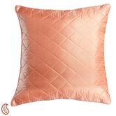 Coral Pink Quilted Poly Silk Decorative Cushion Cover Set