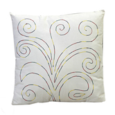 Craftsvilla Scrolly Design Embroidered White Cotton Cushion Cover With Filler