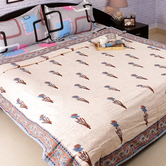 Craftsvilla Pure Cotton Block Print Duvet Cover In Shades Of Blue