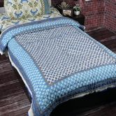 Craftsvilla Elegant White And Blue Shade Siingle Bed Cotton Quilt