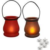 Craftsvilla Red And Brown 2 Lantern Style Tealight Holder And Free Tealight For Diwali