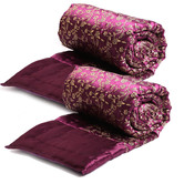 Craftsvilla Purple And Golden Floral Print Single Bed Quilt- (set Of 2)