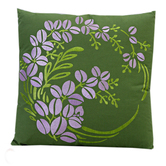 Craftsvilla Floral Embroidered Green And Purple Cushion Cover With Filler