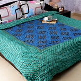 Craftsvilla Dual Blue Green Shade Dashing Double Bed Cotton Quilt