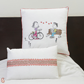 Craftsvilla White Cotton Printed And Embroidered Cushion Cover Set With Fillers