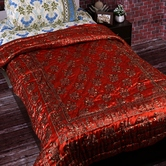 Hot Red Shade Silky Shine Single Bed Cotton Quilt