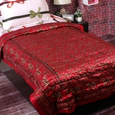 Craftsvilla Deep Red Silky Silk Floral Print Single Bed Quilt