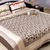 Contemporary Print Multicolor Shade Double Bed Cotton Quilt