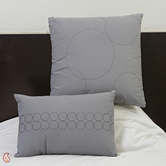 Grey Suede Finish Cotton Embroidered Cushion Cover Set With Fillers