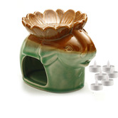 Aapno Rajasthan Green Ceramic Elephant Two In One Oil Burner And Tea Light Holder & Free Tealight For Diwali