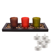 Aapno Rajasthan Multicolor Solid Tealight Holders With Decorative Tray & Free Tealight For Diwali