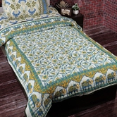 White & Blue Shade Soothing Print Single Bed Quilt