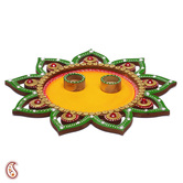 Craftsvilla Floral Wood And Clay Work Arthi Thali With Hand Painted Motifs