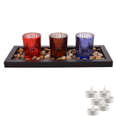 Aapno Rajasthan Multicolor Textured Tealight Holders With Tray & Free Tealight For Diwali
