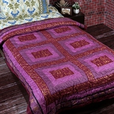 Elegant Purple Pink Shade Contemporary Print Single Bed Quilt