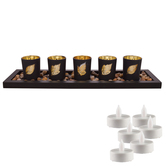 Aapno Rajasthan Set Of 5 Tea Light Holders With Decorative Tray & Free Tealight For Diwali