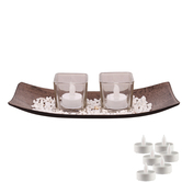 Aapno Rajasthan 2 Square Transparent Tealight Holders With Stylish Tray & Free Tealight For Diwali