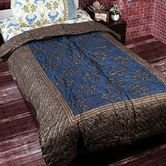 Craftsvilla Deep Blue Shade Floral Print Double Bed Cotton Quilt