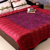 Craftsvilla Pink And Purple Shade Gold Print Double Bed Cotton Quilt