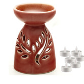 Aapno Rajasthan Ruby Red Ceramic Two In One Oil Burner And Tea Light Holder& Free Tealight For Diwali