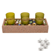Aapno Rajasthan Beautiful Green Tealight Holders With Stylish Tray & Free Tealight For Diwali