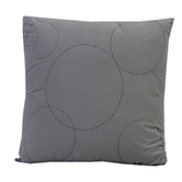 Grey Suede Finish Cotton Embroidered Cushion Cover With Filler