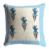 Aapno Rajasthan Off White & Blue Cotton Cushion Cover Set With Block Print -321