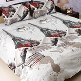 White & Grey Shaded Polyester Double Bedsheet With Contemporary Print