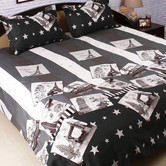 White, Black & Grey Polyester Double Bedsheet With Contemporary Print