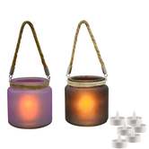 Craftsvilla Purple And Black 2 Hanging Bucket Style Tealight Holders And Free Tealight For Diwali