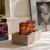 Craftsvilla 2 Brown Tealight Holders With Charming Tray