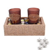 Aapno Rajasthan 2 Brown Tealight Holders With Charming Tray & Free Tealight For Diwali