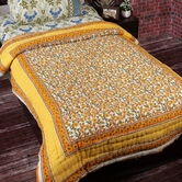 Charming White & Yellow Floral Print Single Bed Cotton Quilt