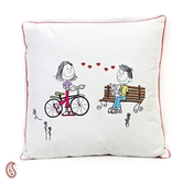 White Cotton Printed Cushion Cover With Filler