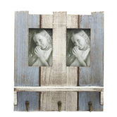 Wooden Blue Photo Frame With Key Hooks