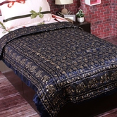 Lovely Deep Blue Shade Floral Print Single Bed Silk Quilt